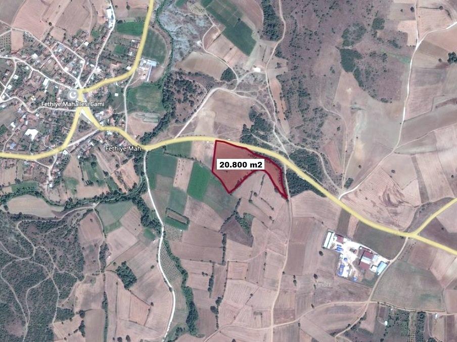 Yenişehir Fethiye Köyünde Satılık Ana Yola Cephe 20.800 M2 Arazi